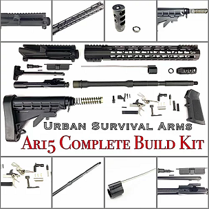 "AR15 COMPLETE BUILDERS KIT 16"" 5.57 NATO BARREL 1:7 TWIST WITH LPK [UNASSEMBLED"