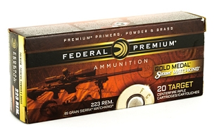 FED GOLD MEDAL 223REM 69GR BTHP 20 ROUND BOX